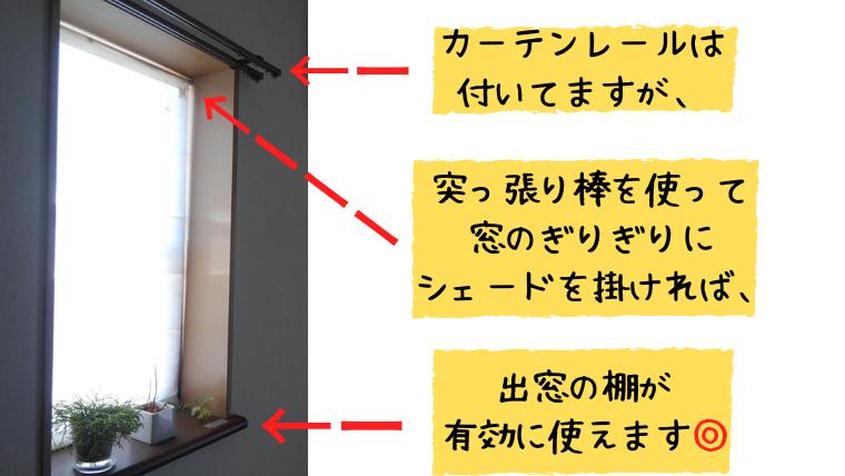 突っ張り棒つき小窓カーテン